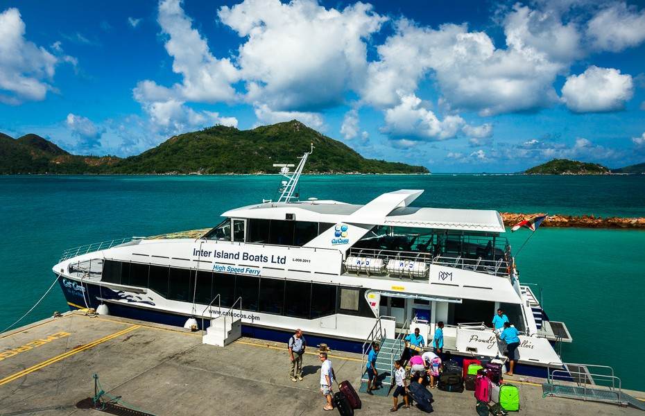 cat cocos boat ferry transfer seychelles newlyweds honeymoon upgrade business