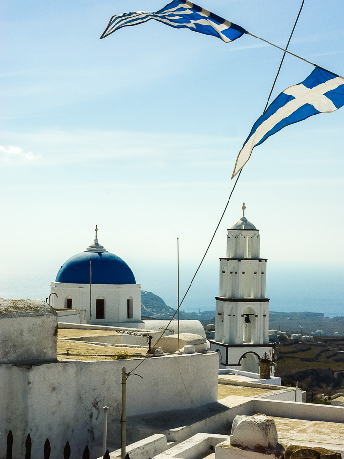 greek hellenic flags santorini