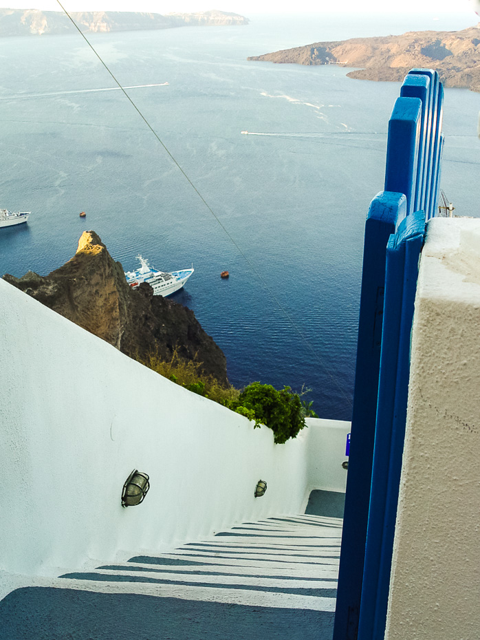 steep santorini cliff mountain steps