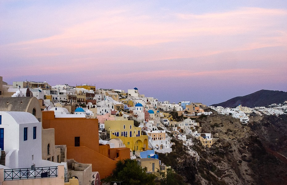 sunset bright sunrise santorini oia