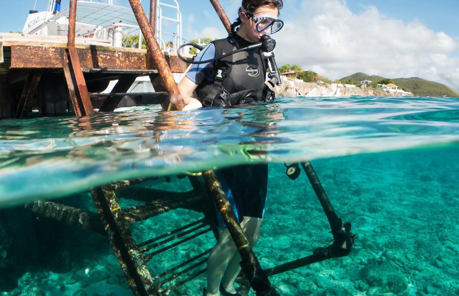 diving aowd padi curacao shore