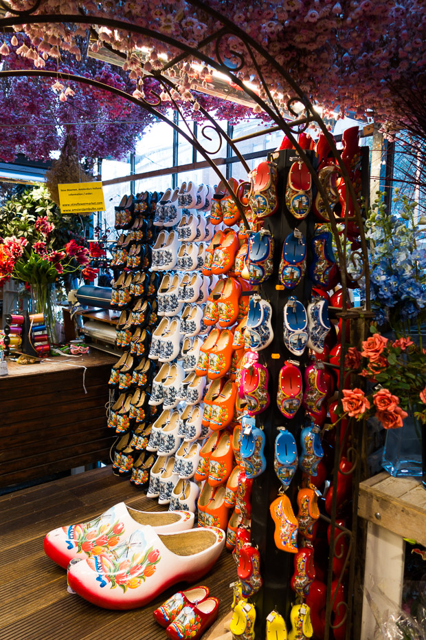 wooden shoes tulips bulbs amsterdam flower market