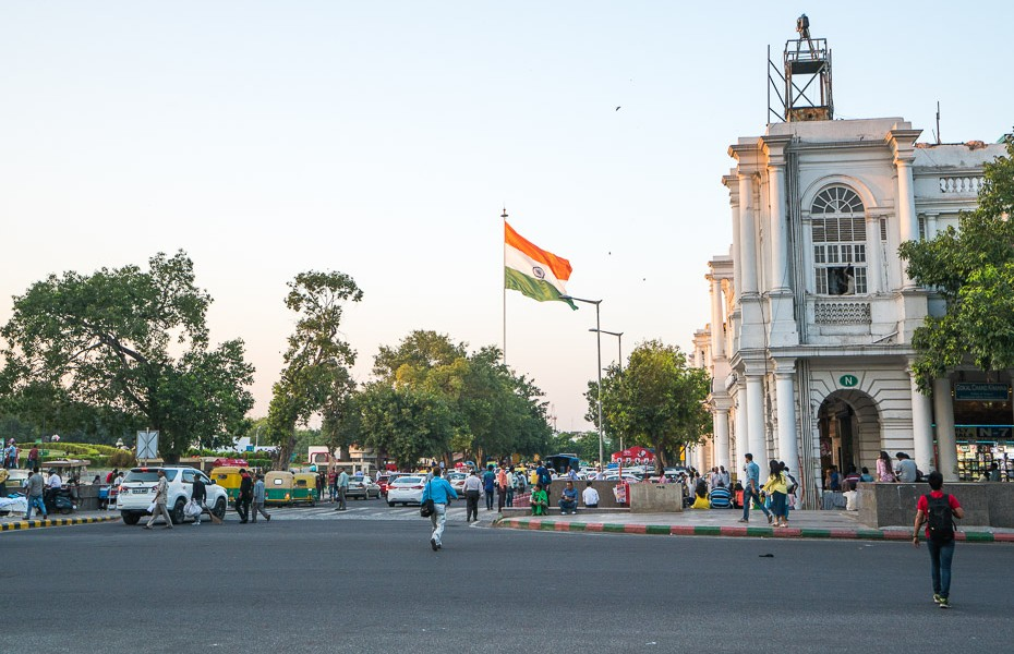 Connaught Place india delhi flag