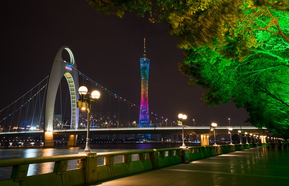 night canton tower china