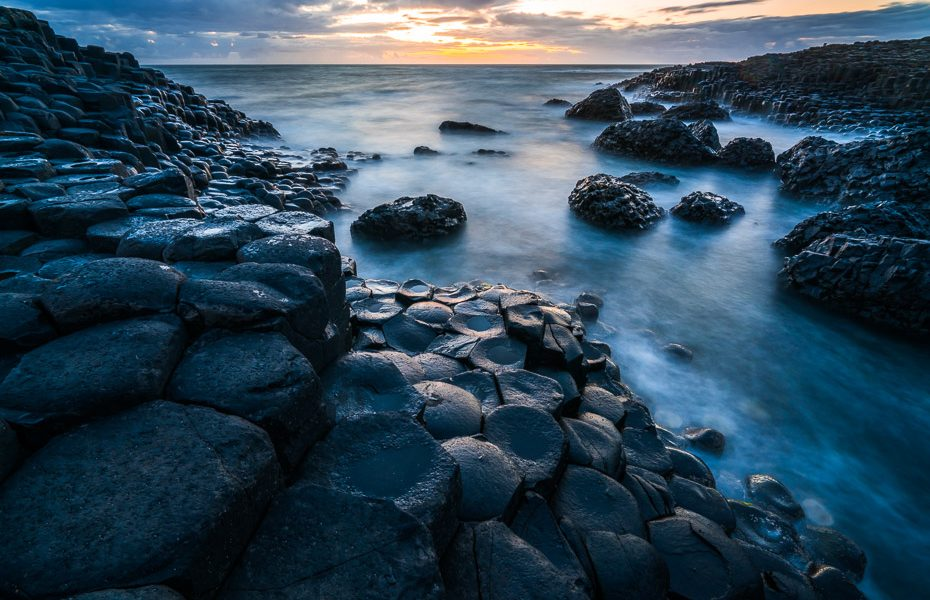giants causeway after sunset volcanic activity