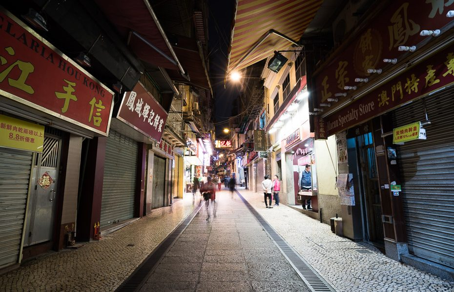 macau streets at night
