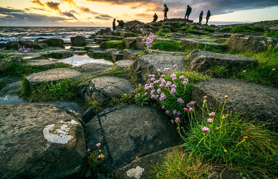 photographers at sunset in northern ireland giants causeway