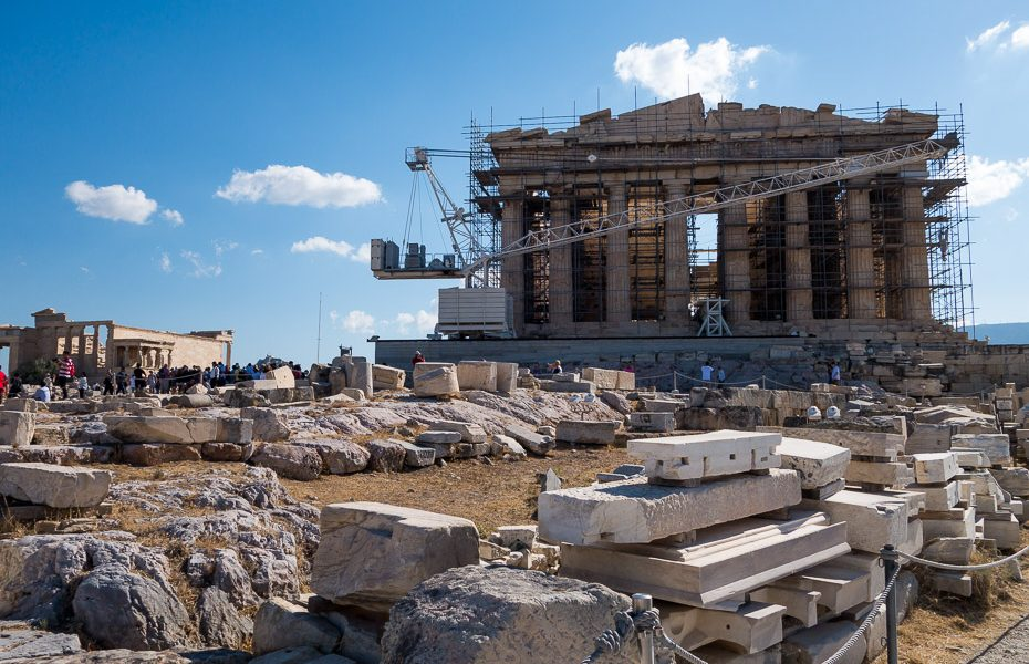 Acropolis under construction greece