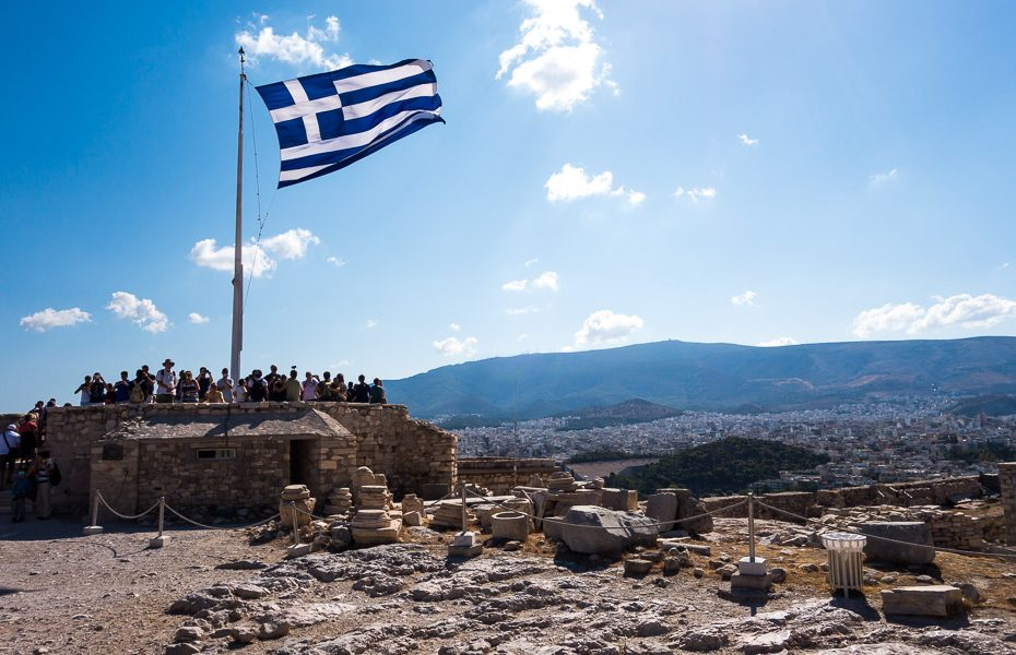 Greek flag Acropolis