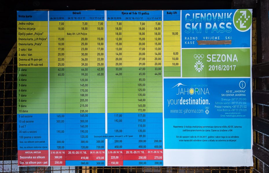 ski pass lift prices bosnia jahorina herzegovina alpine skiing