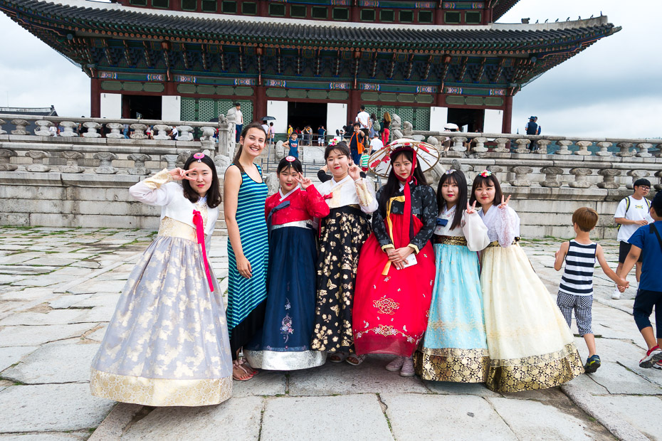 948c24241 Walking in the narrow streets nearby the palace I noticed a lot of small  shops where you can rent the hanbok. Although most of the women wearing one  are ...