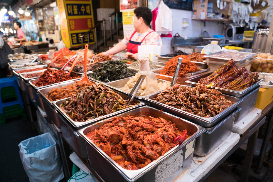 Kimchi and other dishes in Korea