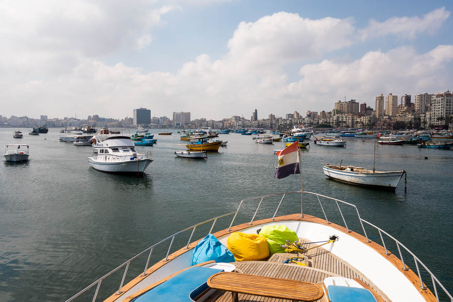the view from yacht in Alexandria Egypt