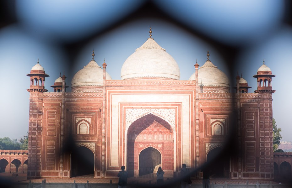 taj mahal india view through the window