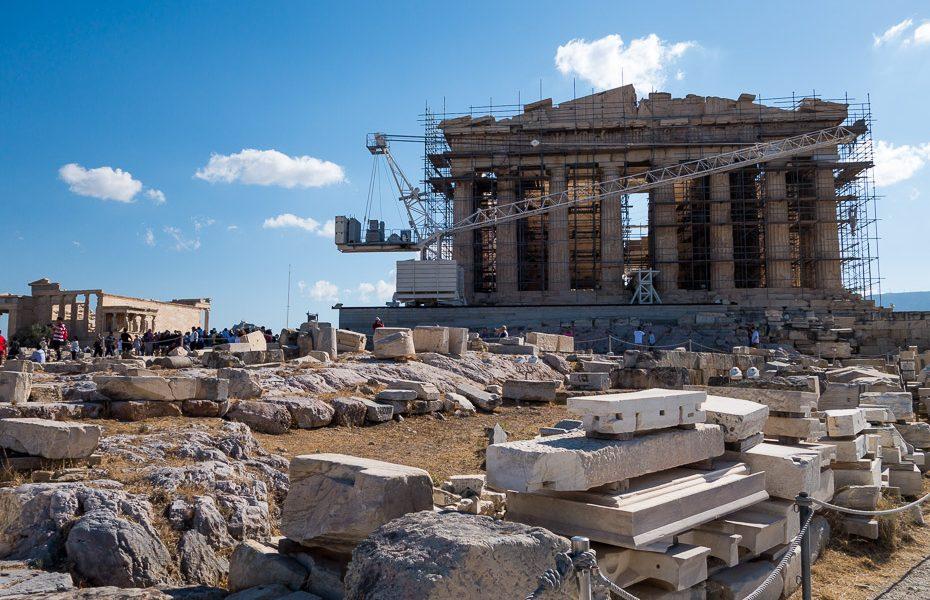 Acropolis under construction greece