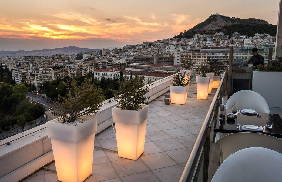 Sunset in Hilton Athens Galaxy bar
